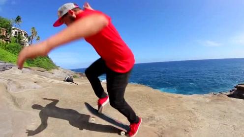 挑战极限!爸爸和叔叔在悬崖边上玩滑板车,好刺激好惊险