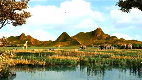 """在""""流域地理""""展厅播放的短片《黄河的形成》"""