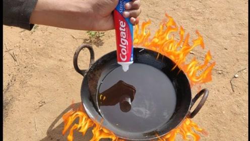 牙膏还能做成油条?印度人挤进油锅测试,不料画面瞬间就失控了!