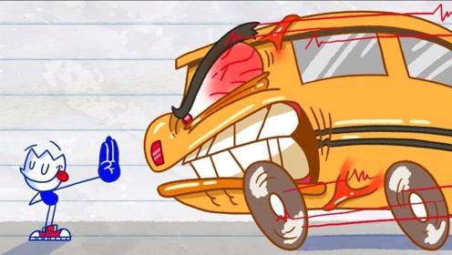 铅笔人为了追上公交车,跑步跑到超越光速,意外穿越到恐龙时代!