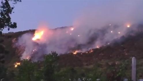 连云港花果山突发山火 过火面积约10亩400人紧急扑救