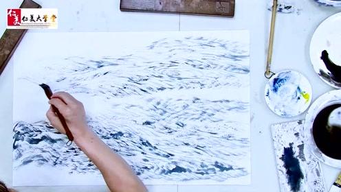 国画中如何表现激湍的大河 把毛笔劈开就可以 看视频学习了