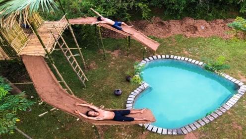 """农村兄弟建造""""树上房子"""",下面还有爱心泳池,真是太惬意了!"""