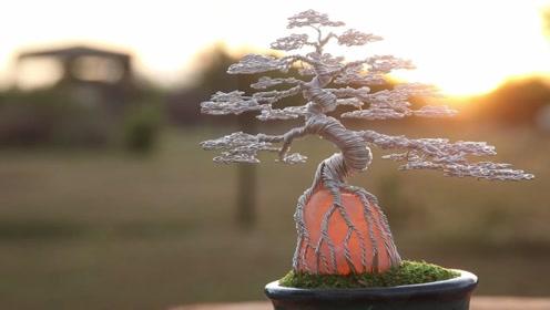 国外能工巧匠,创作出水晶石松树,太梦幻了