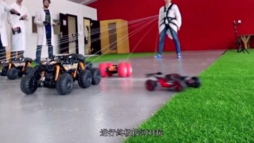 人类与玩具车拔河会怎样?实验开始1秒后,老外给人类丢脸了