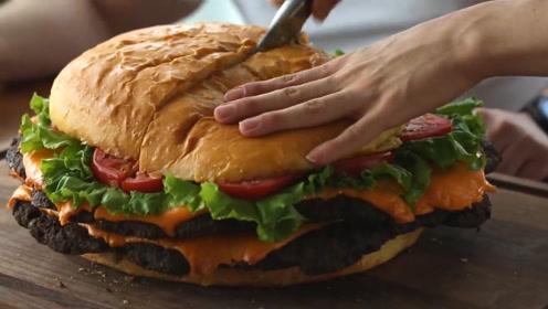 小哥制作27斤的牛肉汉堡,看着口水直流,网友:够10个人吃了