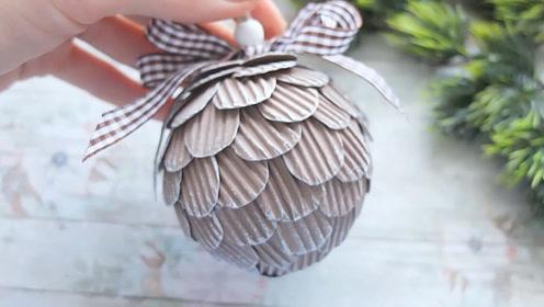 创意手工DIY,用纸板制作松塔小挂件的方法,简单又漂亮!