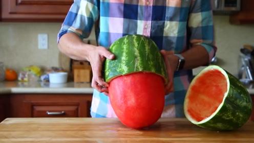 牛人发明神奇刀工,西瓜被切成球形取出,真相简直是侮辱智商!