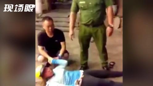 """越南""""飞车党""""当街抢夺中国游客 河南小伙穿拖鞋踹翻摩托制服劫匪"""
