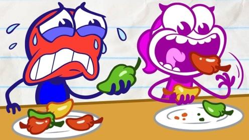 男孩参加吃辣椒比赛,可却在比赛中没诚信,女孩用妙招让他得到教训!