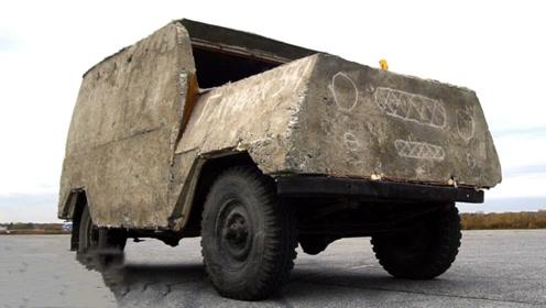 用水泥浇筑的越野车,一脚油门下去,场面彻底失控!