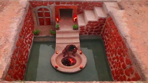 农村牛人徒手打造地下花园,游泳烤火还有神秘别墅!网友:神仙生活
