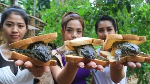 美女在野外抓到三只青蛙,煮熟之后,我的口水直流!