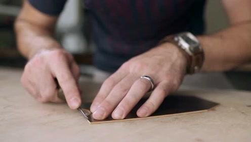 纯手工制作一个皮包,一看这皮具纹路,就知道价值不菲