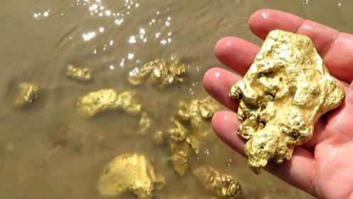 """男子进入深山寻宝,意外发现一条""""龙脉"""",巴掌大的黄金满地都是!"""