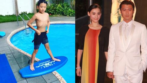 张柏芝教二儿子学滑水,9岁小Q帅气神似老爸谢霆锋