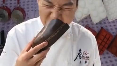 一开始以为是真的鞋子,看着你把它吃下去了,就想问你香不香?