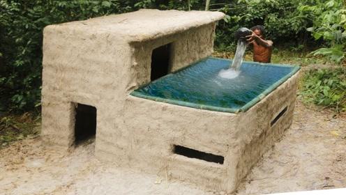 创意原始人探秘 设计漂亮的小屋泳池