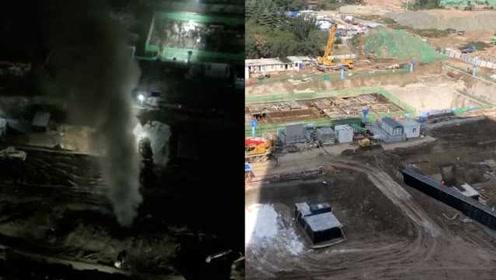 燃气管破裂气体喷数米高,市民半夜抱娃逃出家门:5天挖坏3次