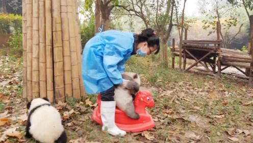 奶妈带熊猫宝宝骑摇摇马,还没骑上,奶妈就按奈不住了