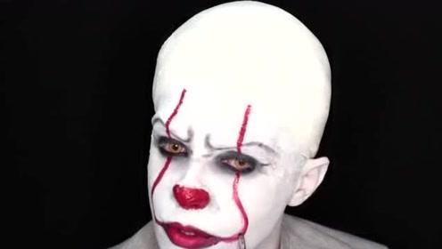 国外小伙美妆秀:仿妆小丑妆容你觉得像吗?