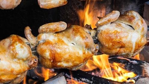 韩国小吃橡树木炭烤鸡,金黄滋滋得直冒油,隔着屏幕都直咽口水!