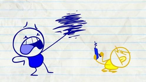 铅笔人不想被遥控器操控,直接扔掉了,不料被小孩子捡到了!
