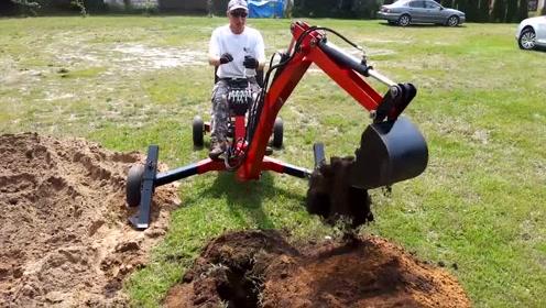 农村大爷自制小型挖掘机,这么复杂都能做到,技术不得了啊!