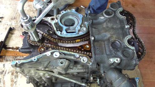 看汽车发动机正时链条拆解流程,了解一下正时的记号