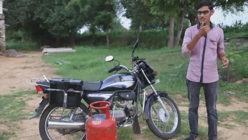 用煤气罐代替汽油的摩托车能启动吗?起步瞬间震撼了