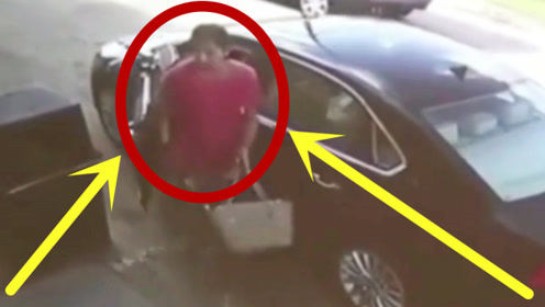 """红衣女子刚下车,就被嚣张劫匪""""盯""""上,2秒后丈夫手撕歹徒!"""