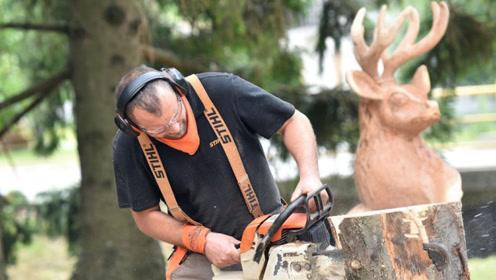 国外电锯雕刻比赛,拿着电锯雕刻,这还是第一次看到!