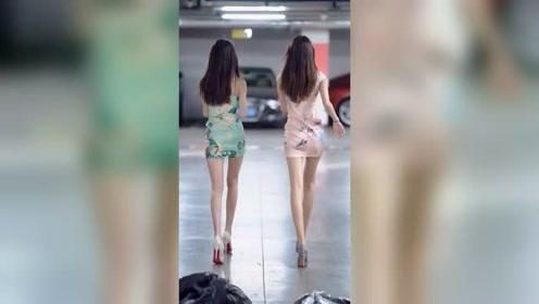 地下停车场遇到两个刚下班的姑娘,旗袍美还是身材美?我觉得还是背影最美