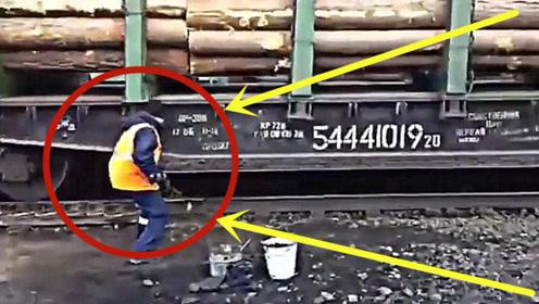 不愧是战斗民族!给火车刹车做出这种惊人之举,看呆了!