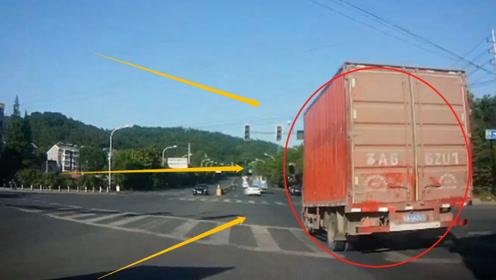 大货车红灯口急刹车,瞬间遭遇小伙伴亲密接触,记录仪记下惊魂3秒