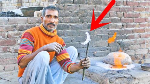 巴基斯坦大叔专业手工铸造摩托刹车蹄片,手艺很娴熟,不知铝铸件质量如何