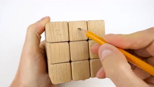 小哥用实木和磁铁制作的魔方,也太有创意了,给我能玩一天!