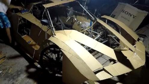 男子痴迷法拉利,用纸壳打造出一辆跑车,简直不要太帅!