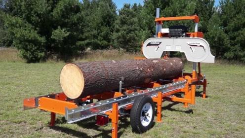 美国发明超先进木材切割机,圆木1分钟变木板,加工过程令人吃惊