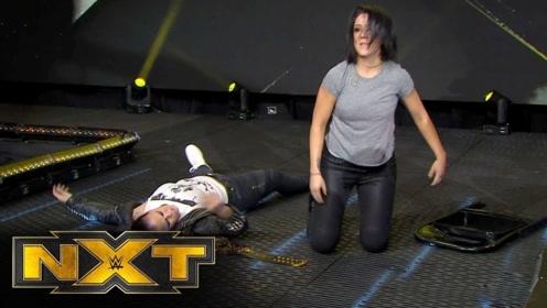【NXT534期】善娜假惺惺祝贺紫雷 贝莉突然出现背后偷袭女子冠军