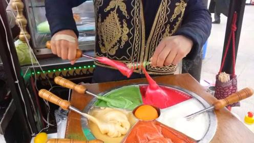土耳其街头螺旋糖果,制作过程看完好治愈