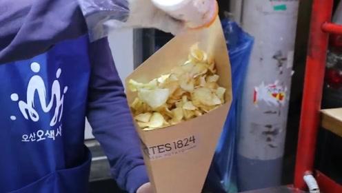 韩国花式街头炸薯片,转成花型的你见过?网友:我就想知道多少钱