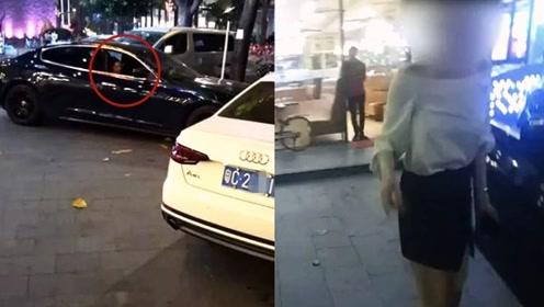 """实拍:广西玛莎拉蒂女司机穿""""恨天高""""醉驾连撞奥迪 吊销驾驶证"""