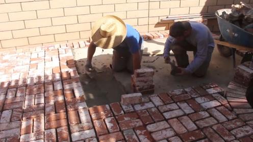 德国人如何给院子里铺砖?铺完还要用高压水枪冲一冲,美观又整洁