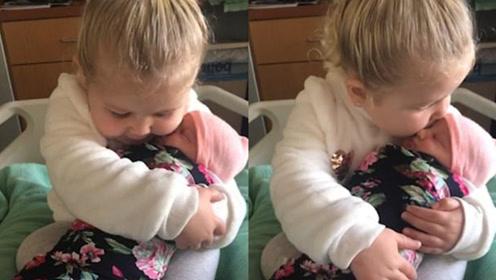 三岁女娃第一次抱妹妹 摸脸亲不够母爱爆棚