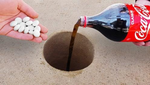 将可乐倒入地洞再放入曼妥思,瞬间爆发出更剧烈的反应,网友:爽快