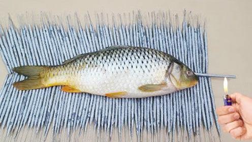 外国小伙将烟花放在一条鱼身下,制作烤鱼,这样的鱼,你敢吃吗?
