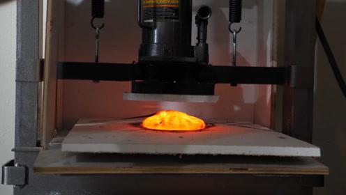 当1000℃岩浆遇到液压机,实验界强强对决,谁能更胜一筹?