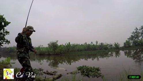 小河边大哥将钓竿撒下等待一会就拉动了,第一竿收获一条草鱼