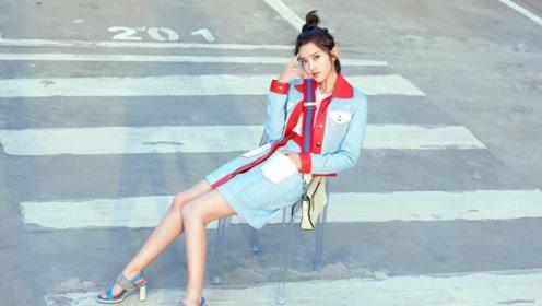 唐艺昕的时尚大片,小腰纤细非常,腰带勒出好身材